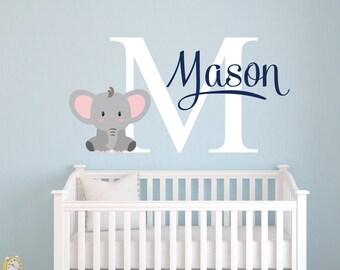 Wonderful Elephant Name Wall Decal   Custom Name Wall Decal   Elephants Baby Boy Room  Decor