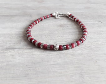 Men's Bracelet with Labradorite and Ruby Stones