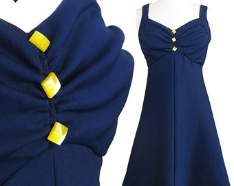 Vintage 60s Dress / 60s Mod Dress / Navy A-line Dress / Mod GoGo Dress / S Small Blue Stewardess Space Age 1960s Shift Sleeveless Buttons