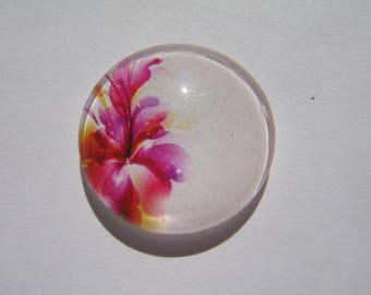 Cabochon 25 mm round domed with his image of pink flowers