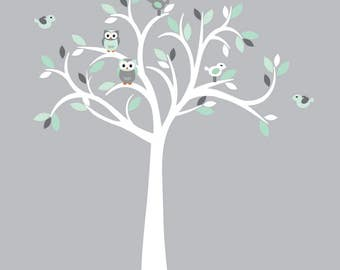 White Tree Wall Decal, Owl wall decal, Owl tree wall sticker, Mint and grey Owl wall Decor, Mint & Grey Design with White Tree