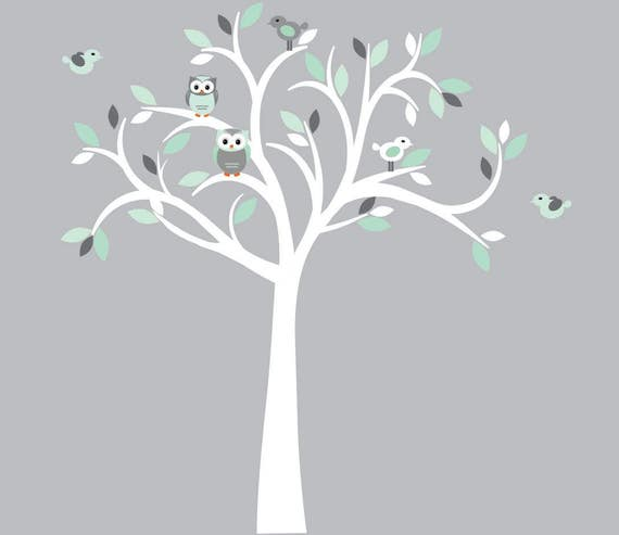 White tree wall decal owl wall decal owl tree wall sticker mint and grey owl wall decor mint grey design with white tree