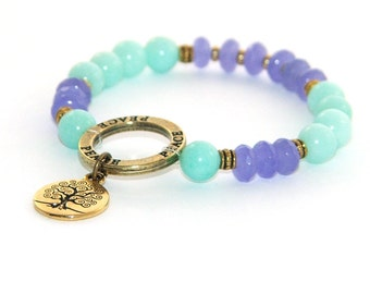 Tree of Life Bracelet Stretch Spiritual Bracelet - Yoga Jewelry -Amazonite & Purple Jade