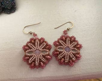 Pink Aster Dangle Earrings