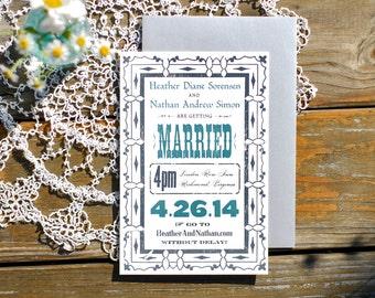 Custom Wedding Invitation - Letterpress Invite Announcement - Unique Hand Printed Vintage Style