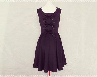 Little Black Bow Back Dress - Little Black Dress, LBD, Black Skater Dress, Black Holiday Dress, OOAK Black Dress in Size Small