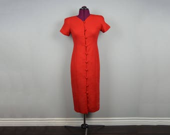 vintage button up dress red 80s 90s women's clothing