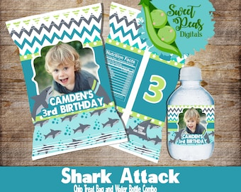 Shark Attack Chip/Treat Bag with Water Bottle Combo