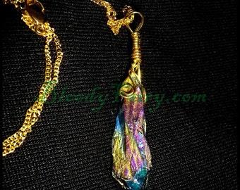 Multi coloured fairy pendant necklace