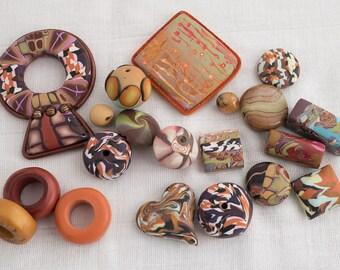 "Assortment of unique handmade polymer beads / Set ""Ocre-Africa"""