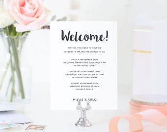 Wedding Welcome Note, Printable Wedding Welcome Bag Letter, Thank You, Itinerary, Agenda, Hotel Card, Painted Script | SUITE031