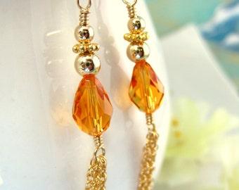 Gold Tassle Chain Earrings Orange Swarovski Crystal - Gold Autumn Orange Tear Drop Earrings - Orange Crystal Tassle Halloween Party Earrings