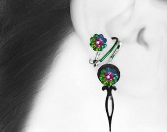 Swarovski Crystal Steampunk Ear Cuff, No Piercing Cartilage Earring, Crystal Ear Cuff, Vitrail Medium Swarovski Crystals, Poine III v5
