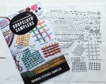 Hand Embroidery Pattern   Dropcloth Samplers Pre-Printed Cotton Embroidery Sampler -DRAWING STITCHES Sampler and Embroidery Kit