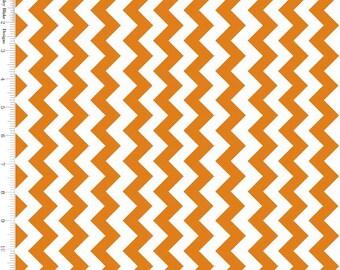 Burnt Orange & White Chevron Fabric, Riley Blake C340-65 Small School Chevrons, Halloween Chevron Fabric, Chevron Quilt Fabric, Cotton