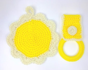 Crochet hot pads, kitchen towelholder, round, kitchen potholder, handmade, hanging, acrylic yarn, yellow