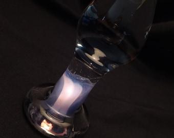 Medium Clear Purple Ribbon Bottom Anal Plug