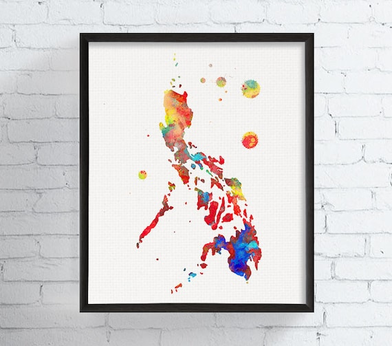 Philippines map philippines art print watercolor map map publicscrutiny Images