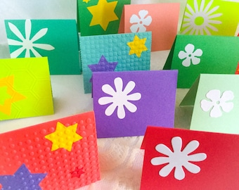 Handmade bright Mini note cards - set of 20 colorful mini cards - white flowers - bright stars - bright mini cards - set of 20