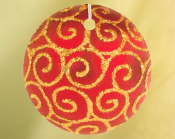 Red Christmas Ornament With Swirls Car Air Freshener