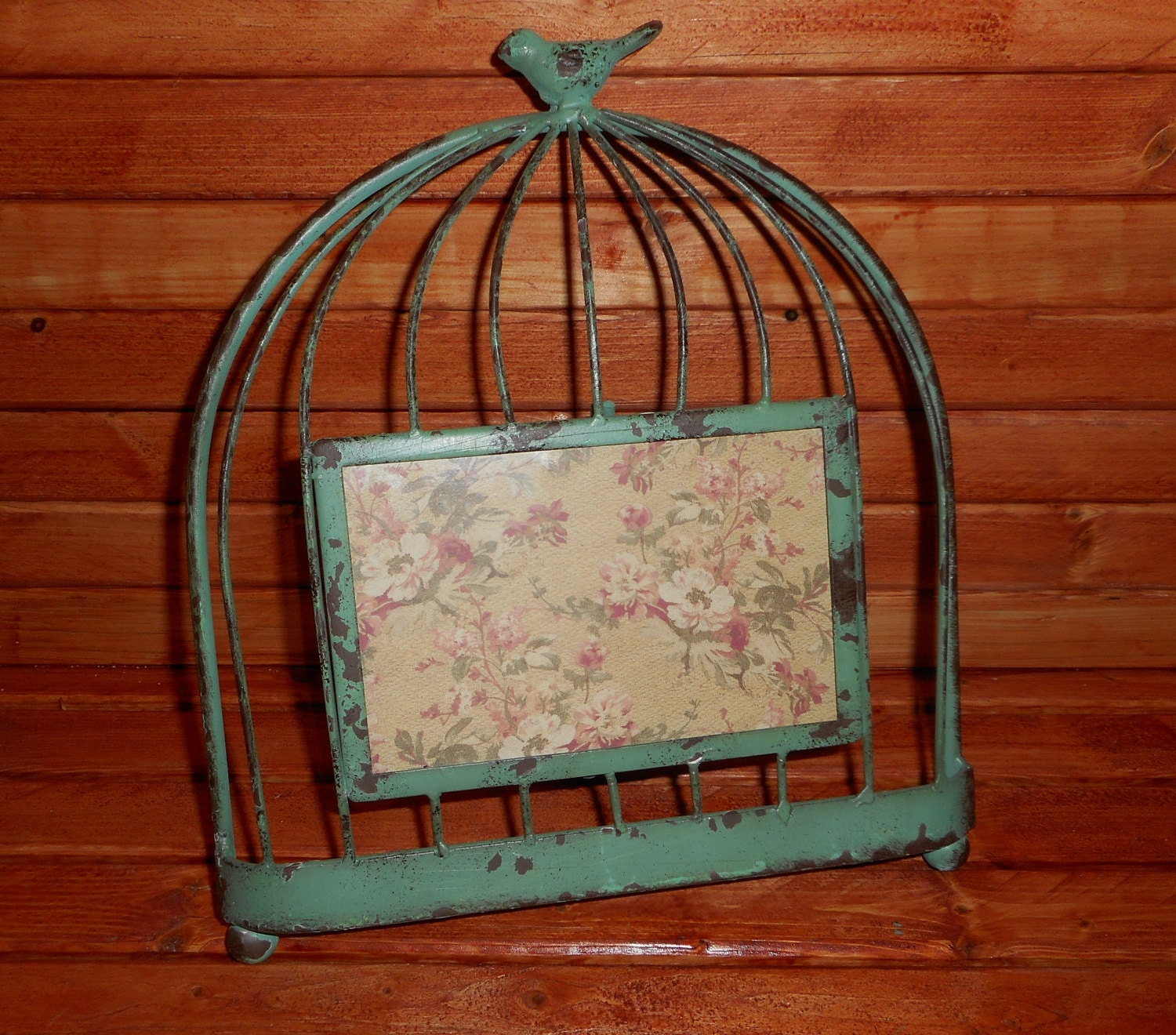 Rustic Style Metal Birdcage Picture Frame...... Old Rusty Metal ...