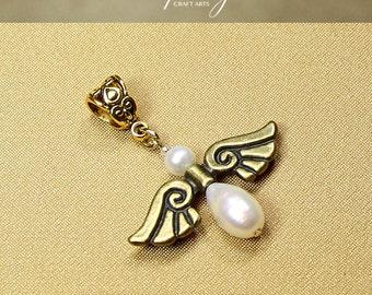 Pearl Angel pendant, Handmade Angel pendant, Freshwater pearl angel, White Pearl Angel, Genuine Pearl Angel pendant, InfinityCraftArts