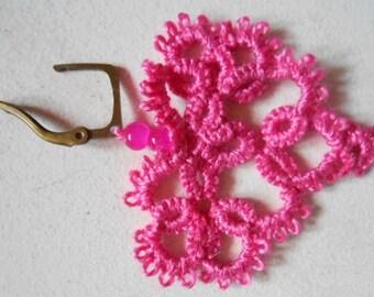Earrings heart shaped pink tatting lace