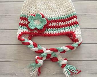Baby girl winter hat, crochet earflap hat, girls winter hat, toddler winter hat, girls crochet hat, baby winter hat, knit winter hat