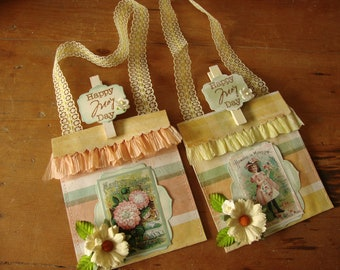 May day gift bag paper pocket for flower seed packets Vintage style Spring party favor containers candy gift wrap Victorian seed packets