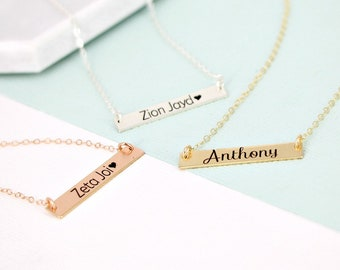 Gold bar name necklace • Personalized bar necklace • Silver, Gold or Rose Bar necklace • Engraved necklace • Name layering necklace