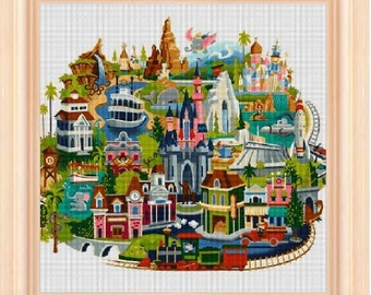 Disneyland Map - cross stitch pattern cross stitch disney, cross stitch, cross stitch disneyland map - PDF pattern - instant download!