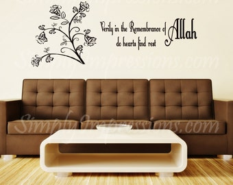 Verily in the Remembrance Bell Flower  Islamic Decal-Wall Sticker