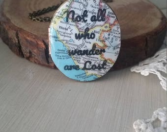 Custom vintage map locket with your choice of custom quote