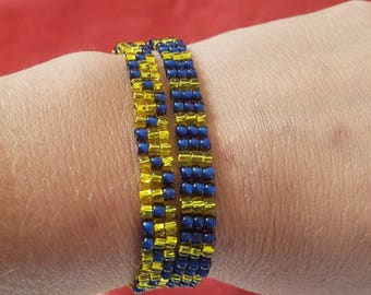 Bead woven wrap bracelet with magnetic clasp