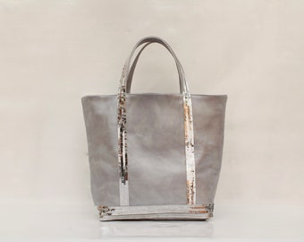 New shopping bag in leather with silver sequins