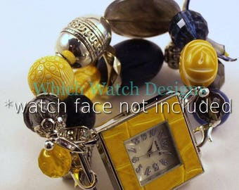 CLEARANCE Shabby Chic Gingham...Navy Blue, Gray and Yellow Interchangeable Beaded Watch Band
