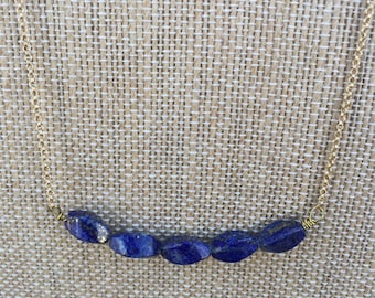 Lapis Lazuli and Gold 24 Inch Necklace