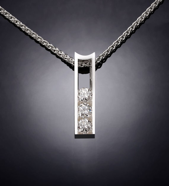 CZ necklace, wedding necklace, diamond substitute, brilliant necklace, holiday necklace, Argentium silver, tension set, modern  - 3503