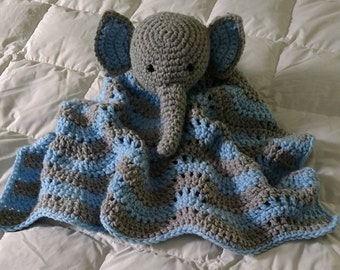 Little Elephant Baby Blanket, Crochet, Cuddle Baby Toy, Baby Snuggle Blanket, Photo Prop, Country Goods