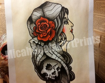 Gypsy Traditional Tattoo Classic flash page/ American traditional, Neotraditional, skull, red rose, coffee stain background