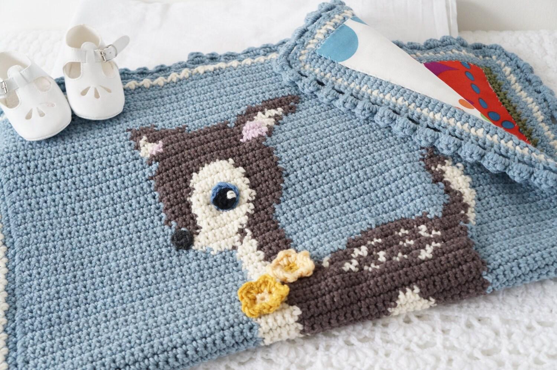 Deer crochet blanket baby afghan pattern woodland theme zoom dt1010fo