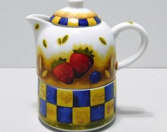 Stackable Creamer Sugar Bowl Checkerboard Pattern Fruit Motif Ceramic