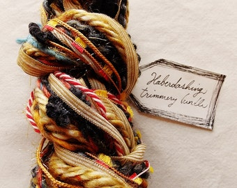 Beetlewing red white striped twine butter yellow ribbon charcoal trim Novelty Fiber Yarn Sampler Bundle