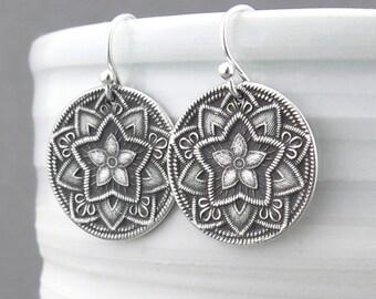 Silver Flower Earrings Rustic Jewelry Sterling Silver Earrings Dangle Silver Circle Earrings Gift for Her Five Point Flower Earrings
