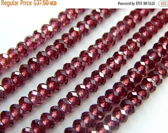 "63% OFF Rhodonite Garnet Faceted Beads Rondelle Shape 4.mm Approx 13""Inches Top Quality Wholesale Price New Arrival."