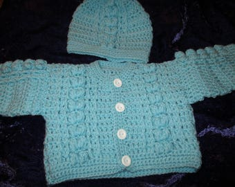 Crocheted Baby Girls Cardigan with Hat