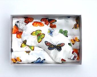 Butterfly Silk Pillowcase and Silk Sleepmask (Orange Tones)