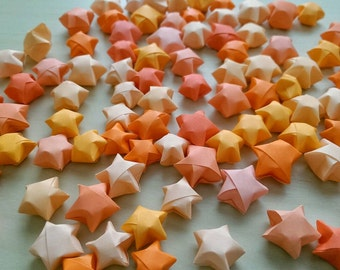 100 Assorted Orange Origami Stars