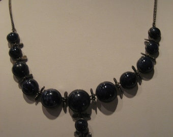 Vintage Sodalite and Sterling Silver Necklace