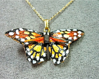 Monarch Leather Butterfly Necklace